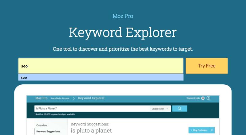Hãy sử dụng Moz's keyword explorer để tìm kiếm từ khóa thích hợp khi làm SEO Online Marketing.