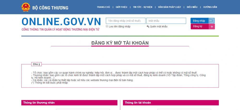 Đăng ký website thương mại điện tử