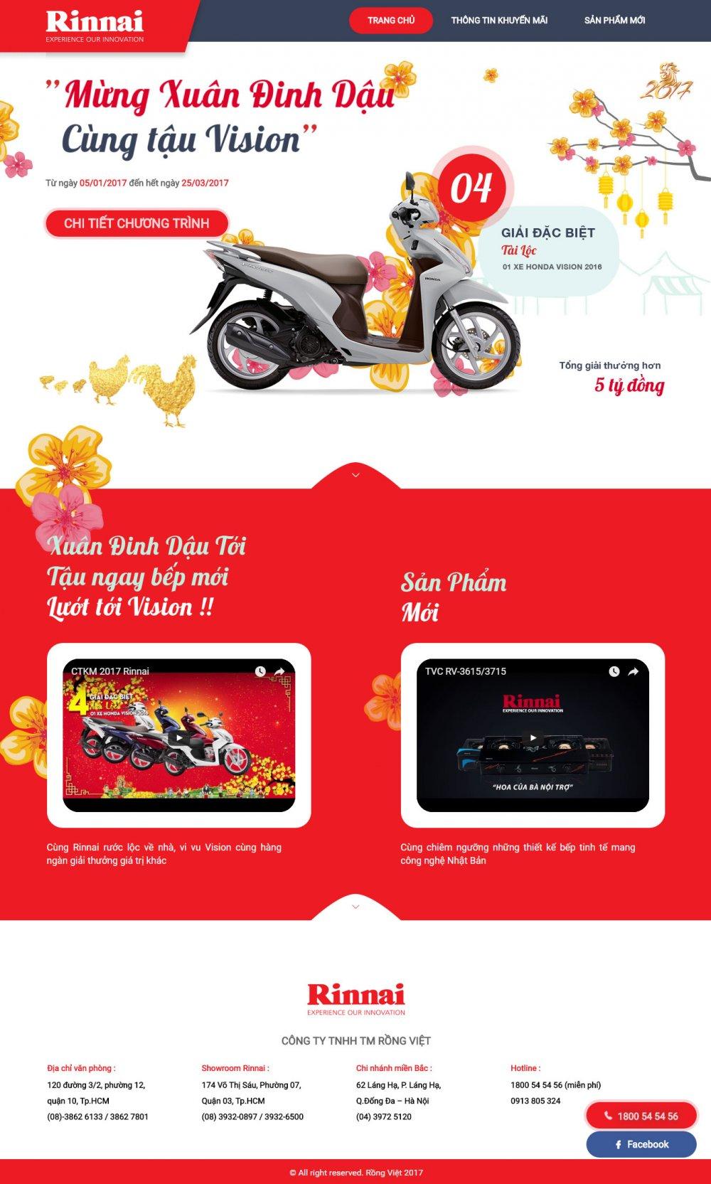 Bếp gas Rinnai - Landing page mừng xuân 2017