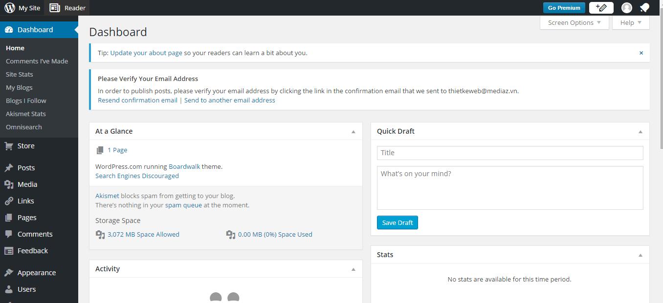 giao diện trang quản trị website wordpress