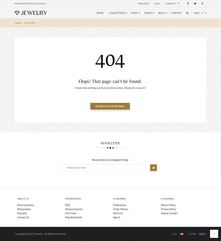 Thiết kế trang 404 website bán trang sức