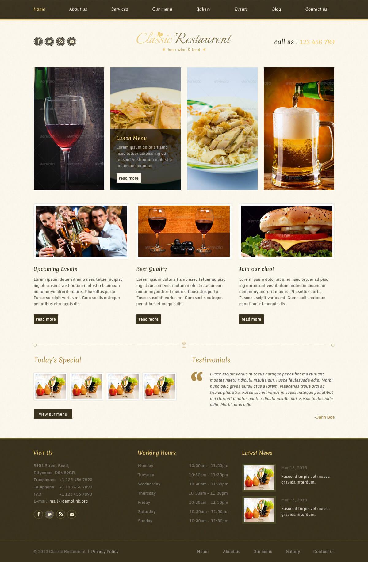 Mẫu website nhà hàng quán ăn tối ưu chức năng