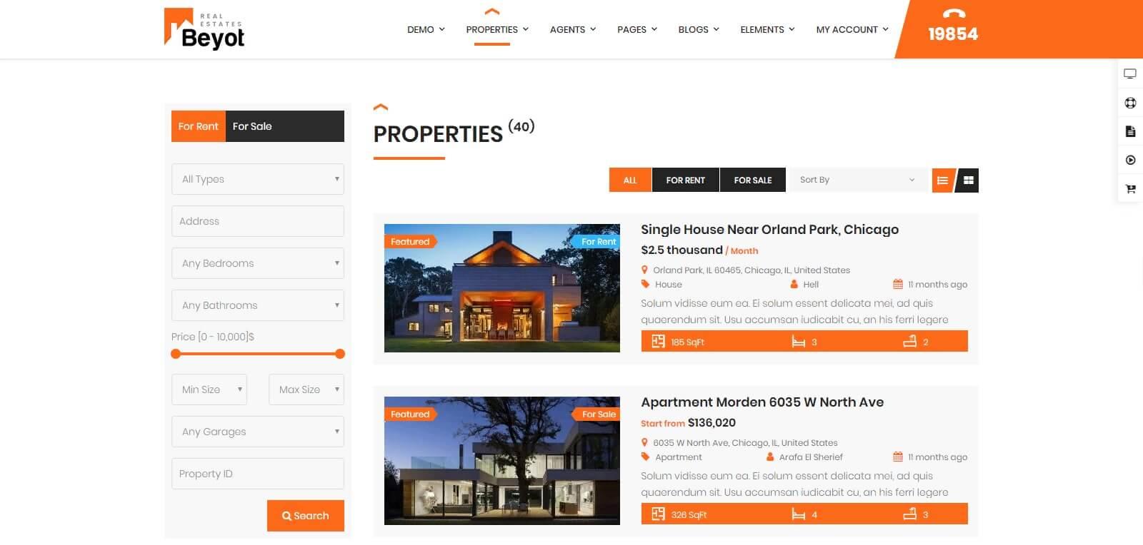 Các module chính của mẫu website nhà đất