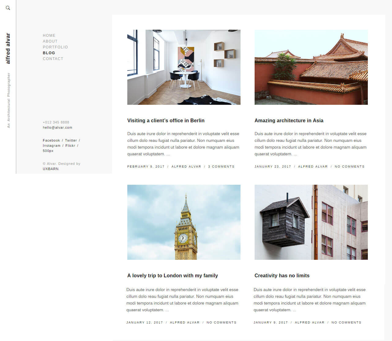 Giao diện Blog website nhiếp ảnh