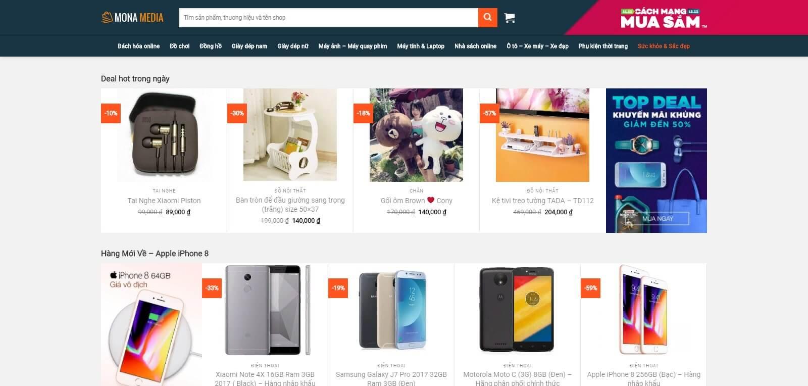 Thiết kế website siêu thị, cửa hàng giống trang web Lazada
