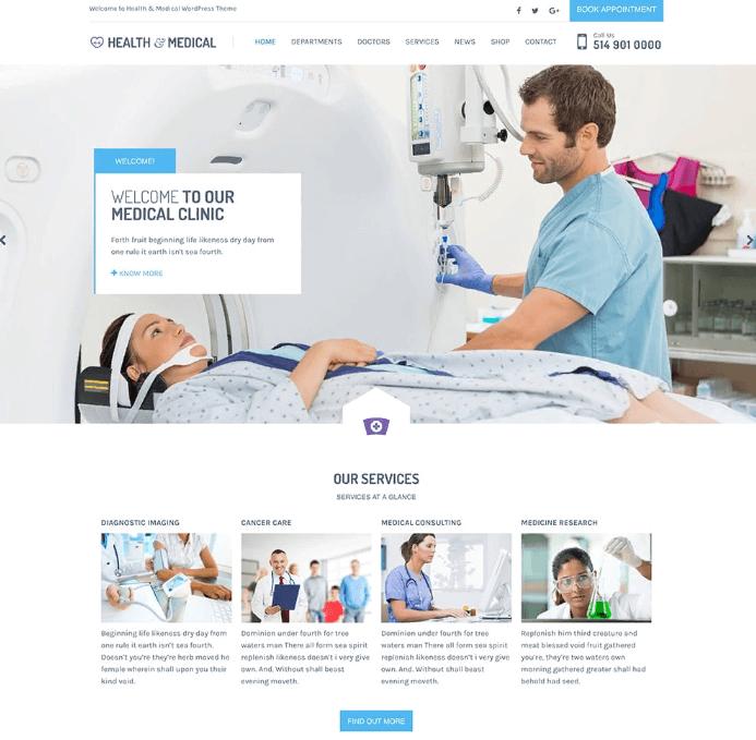 Các tính năng cơ bản của mẫu website phòng khám