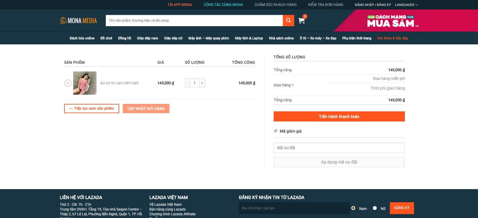 Tính năng đặt hàng, giỏ hàng và thanh toán online trên trang web siêu thị