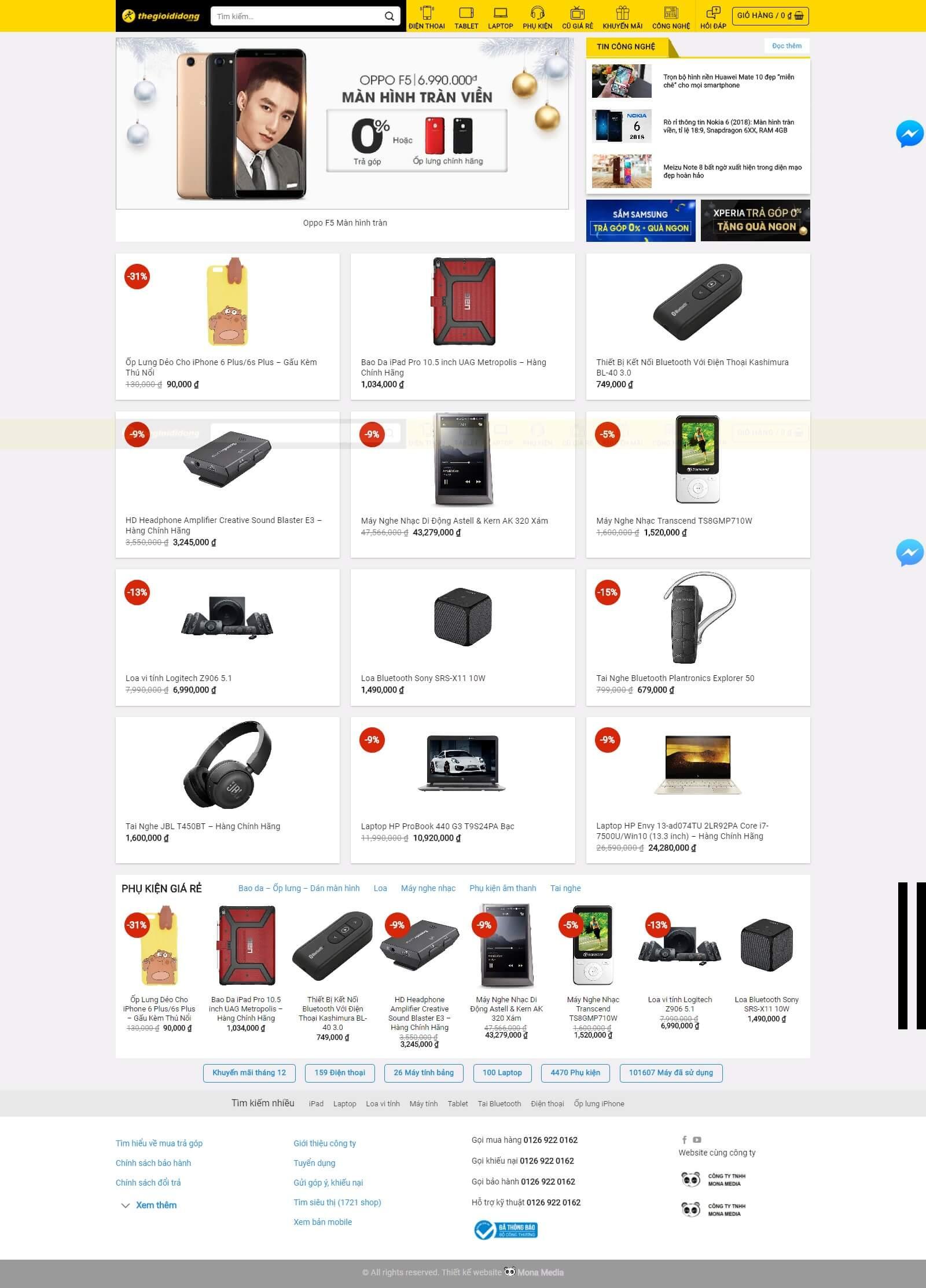 Mẫu website bán điện thoại giống website thế giới di động