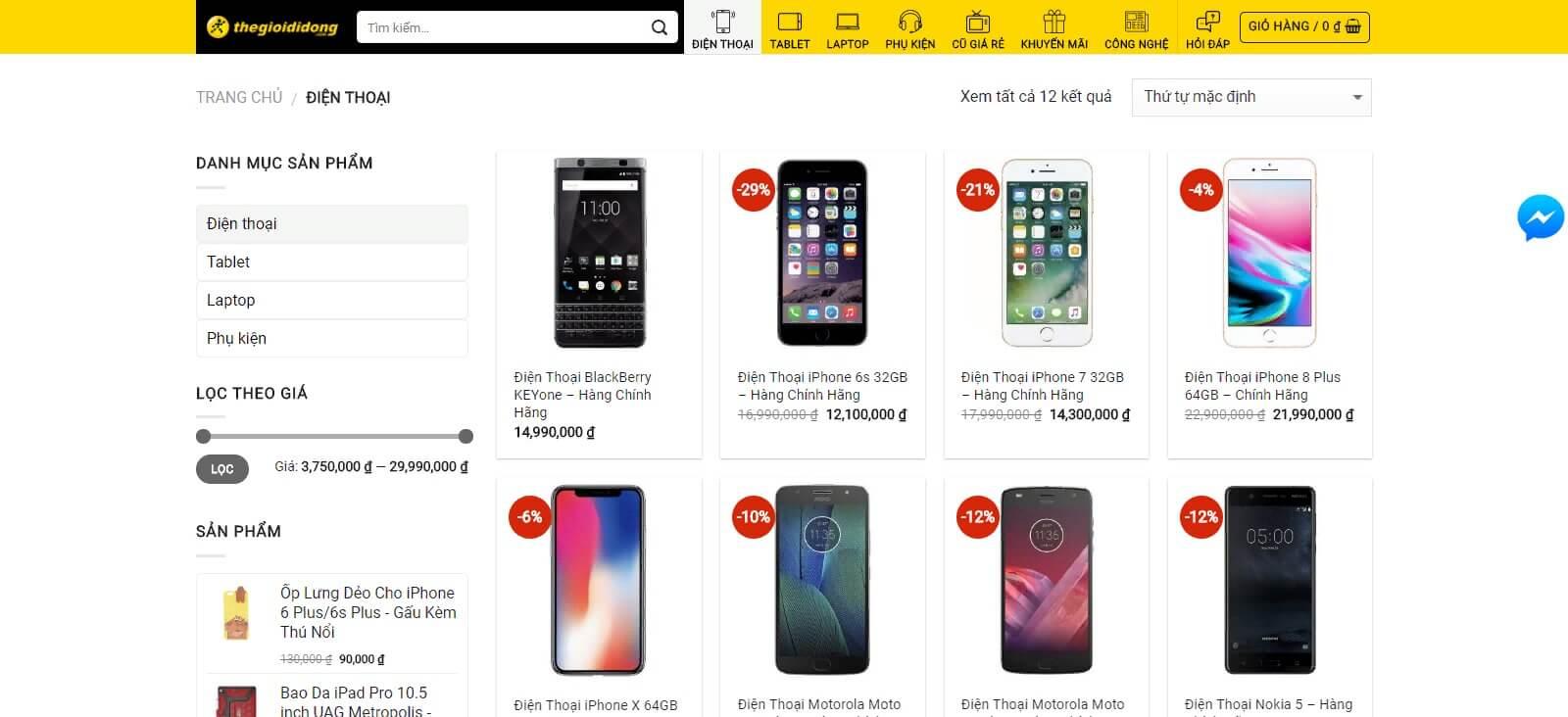 Những tính năng cơ bản của mẫu website bán điện thoại