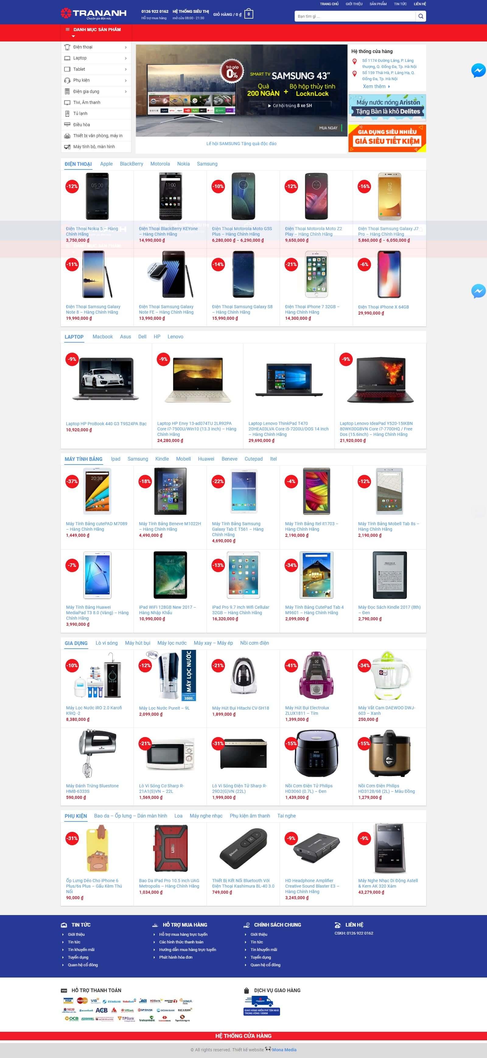 Mẫu website bán máy tính giống website Tran Anh