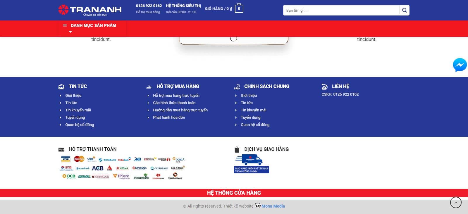 Thiết kế website bán máy tính chuyên nghiệp, đẹp mắt giống website Tran Anh