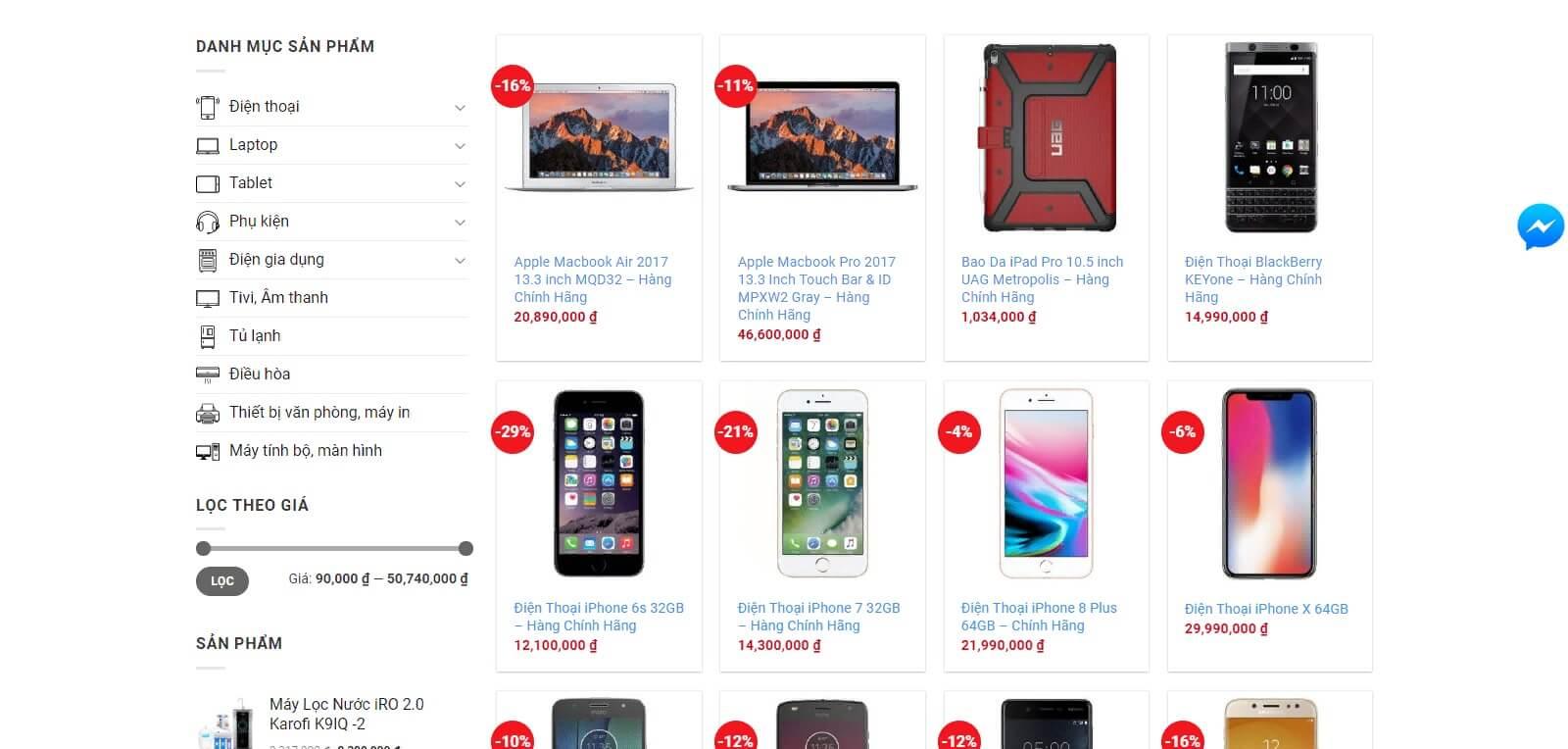 Trang sản phẩm web bán máy tính