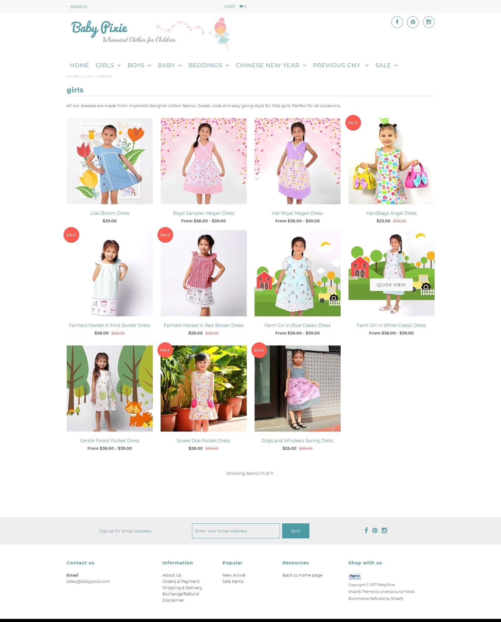 Các module của mẫu website bán hàng quần áo trẻ em
