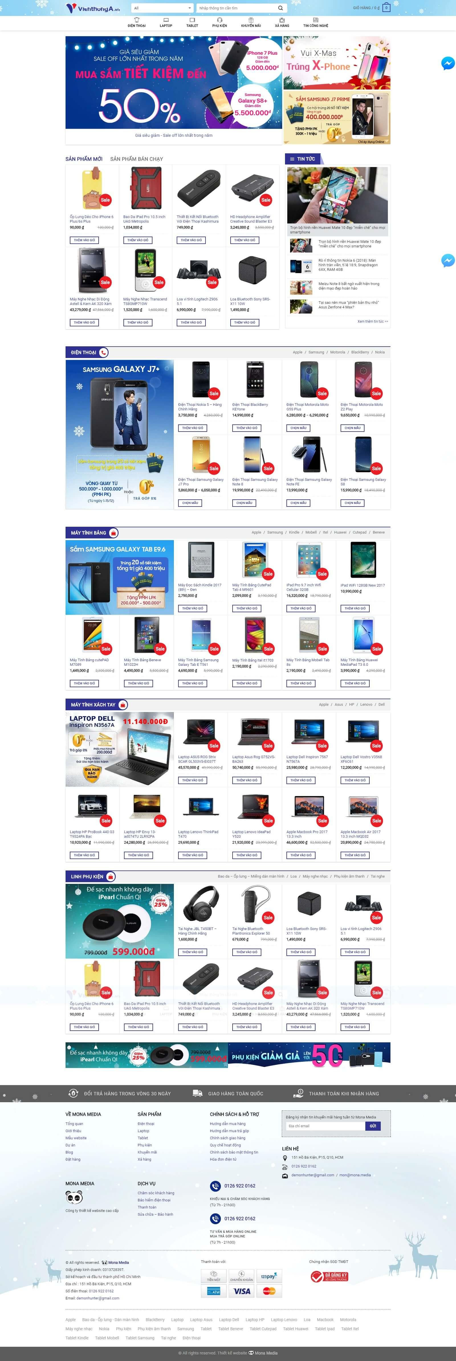 Mẫu website bán laptop giống trang web Viễn Thông A