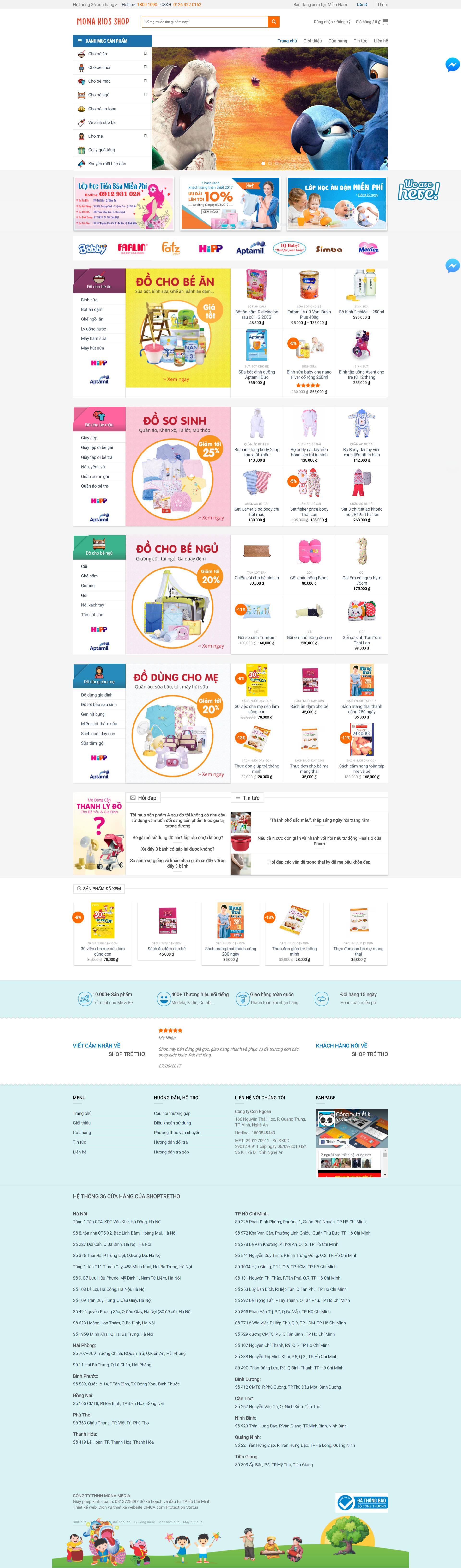 Mẫu website bán hàng shoptretho