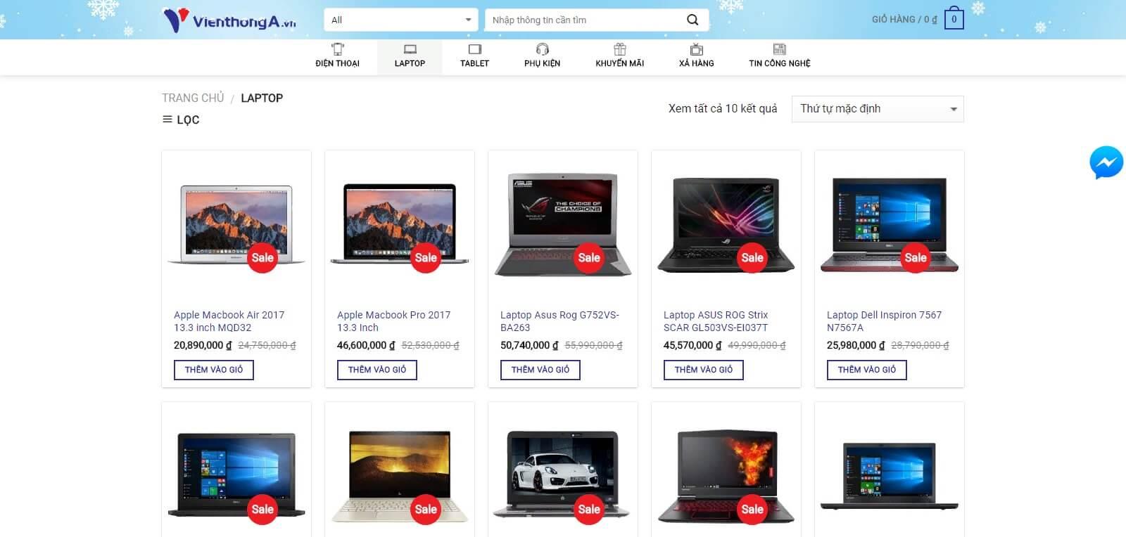 Những chức năng của mẫu website bán laptop