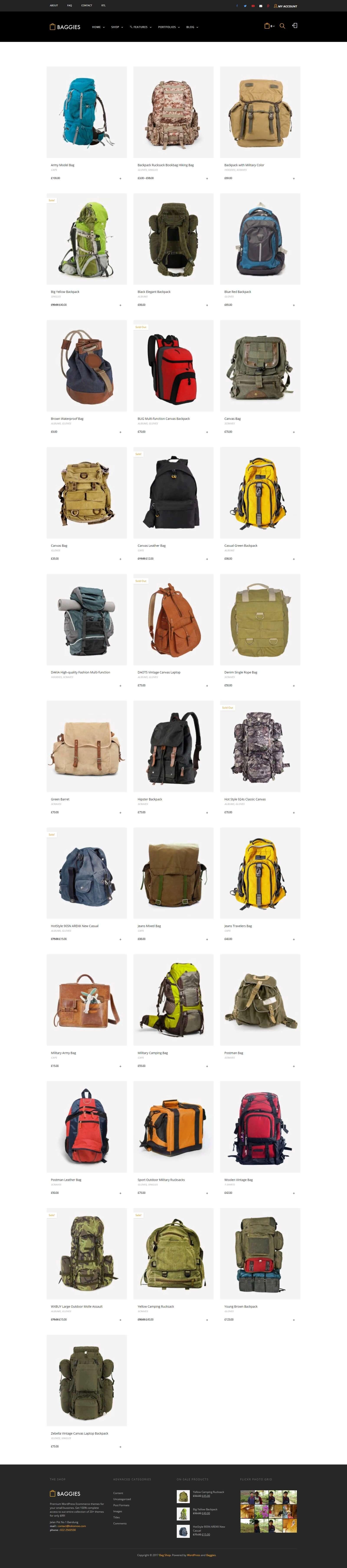 Các module của mẫu website bán hàng balo thời trang