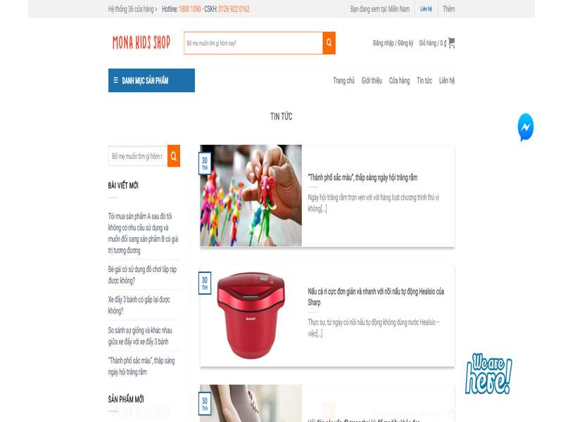Các module của mẫu website bán hàng trẻ em