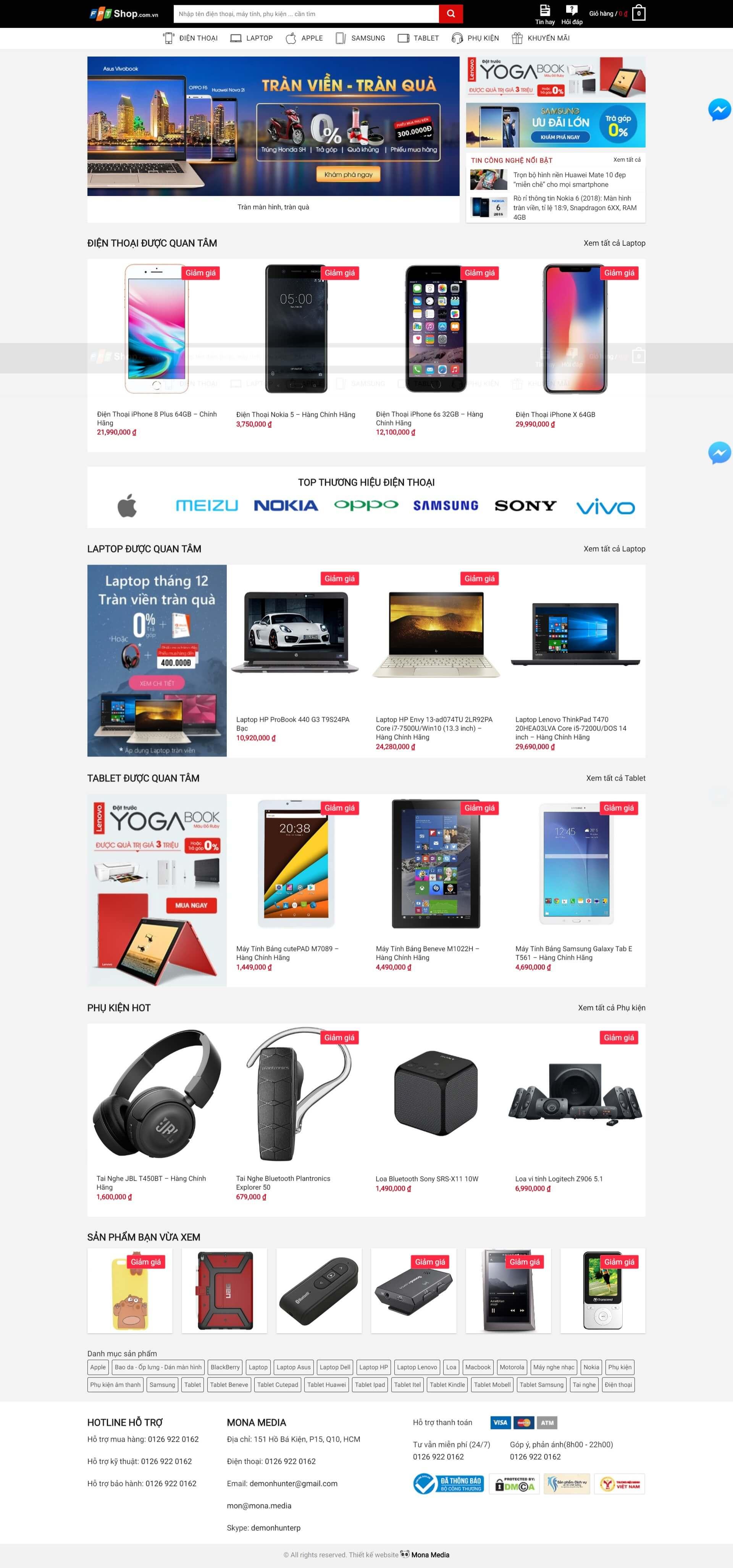 Mẫu website bán hàng phụ kiện điện thoại giống trang web fpt shop
