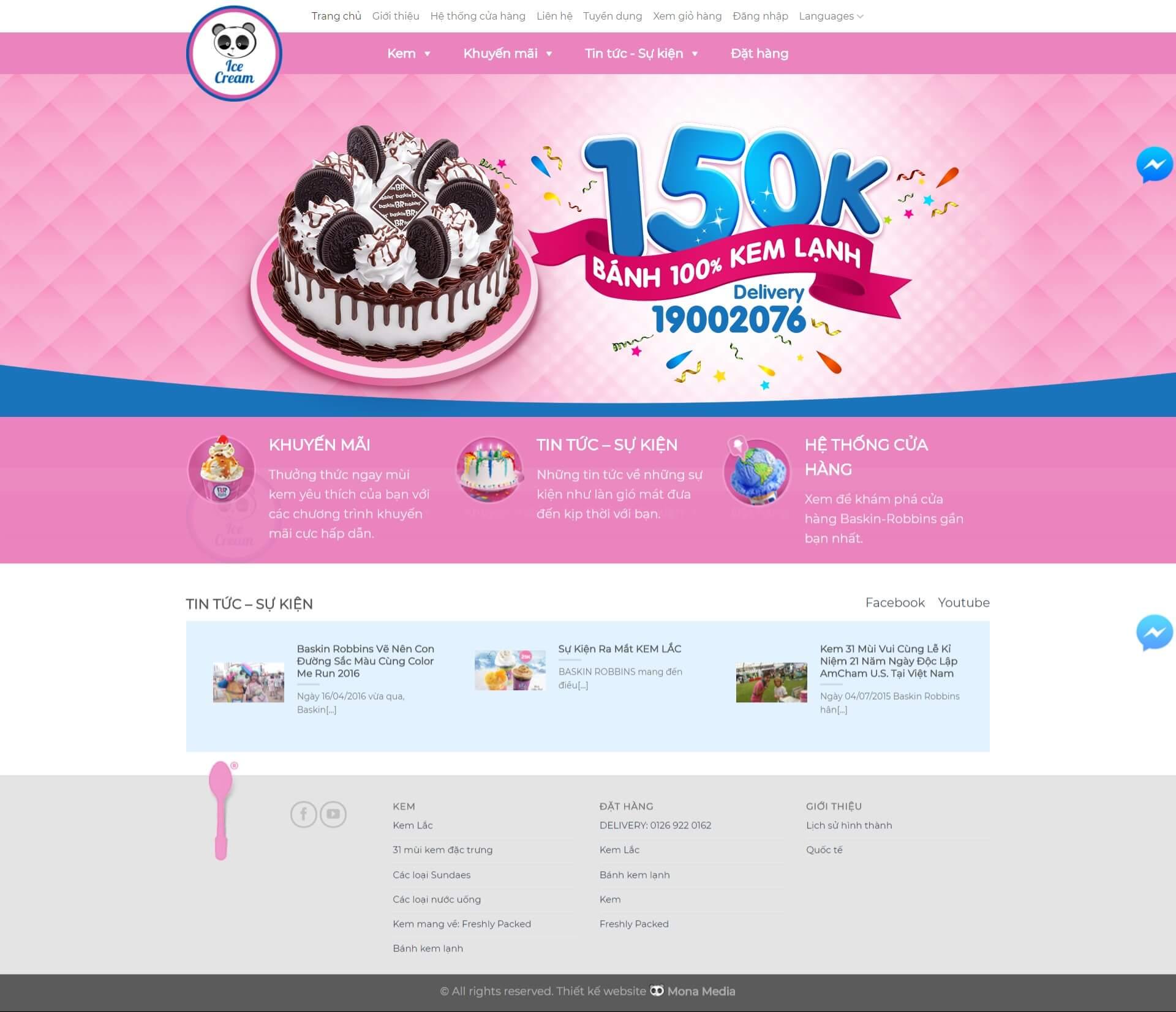 Thiết kế website bán bánh kẹo, bánh kem, kem giống trang web Baskin Robbin