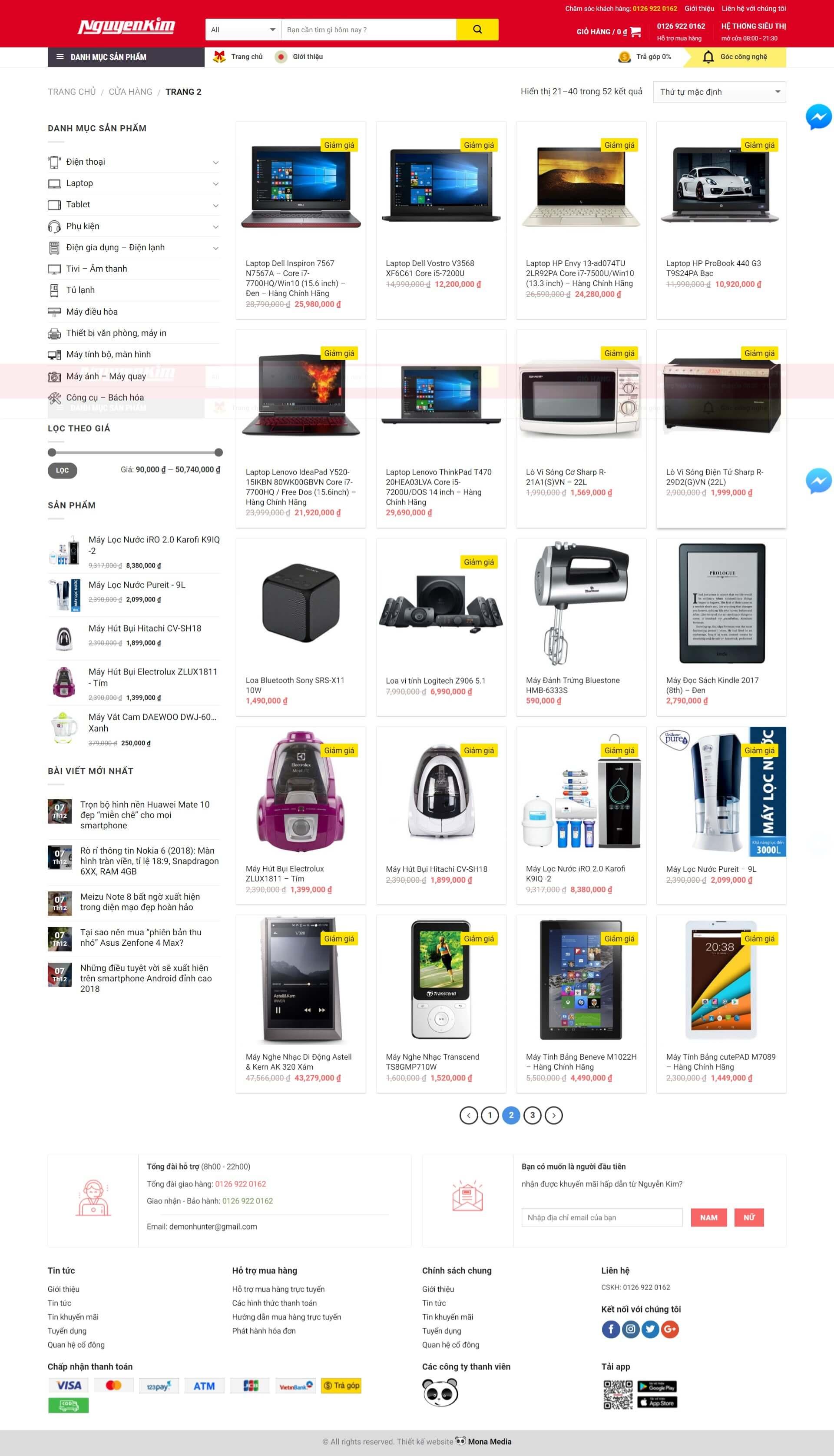 Thiết kế website bán hàng linh kiện vi tính giống website Nguyễn Kim