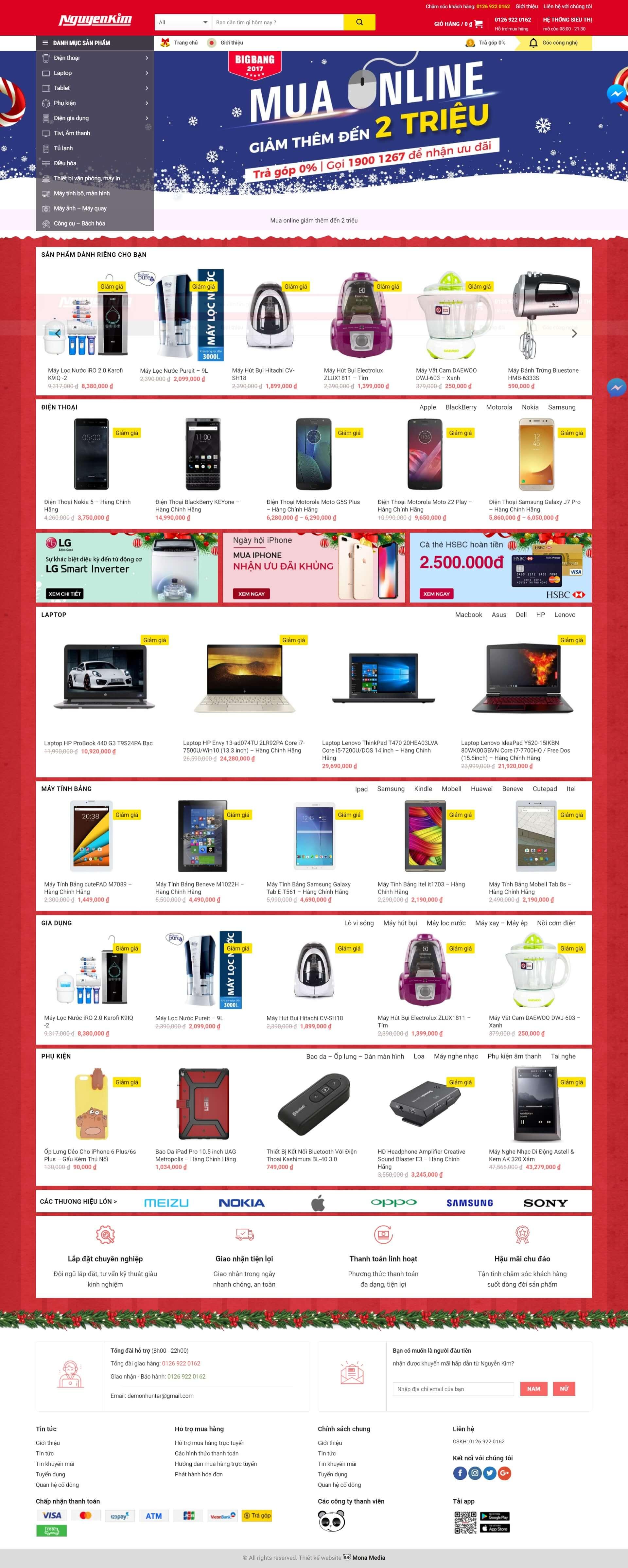 Mẫu website bán hàng linh kiện vi tính giống trang web Nguyễn Kim