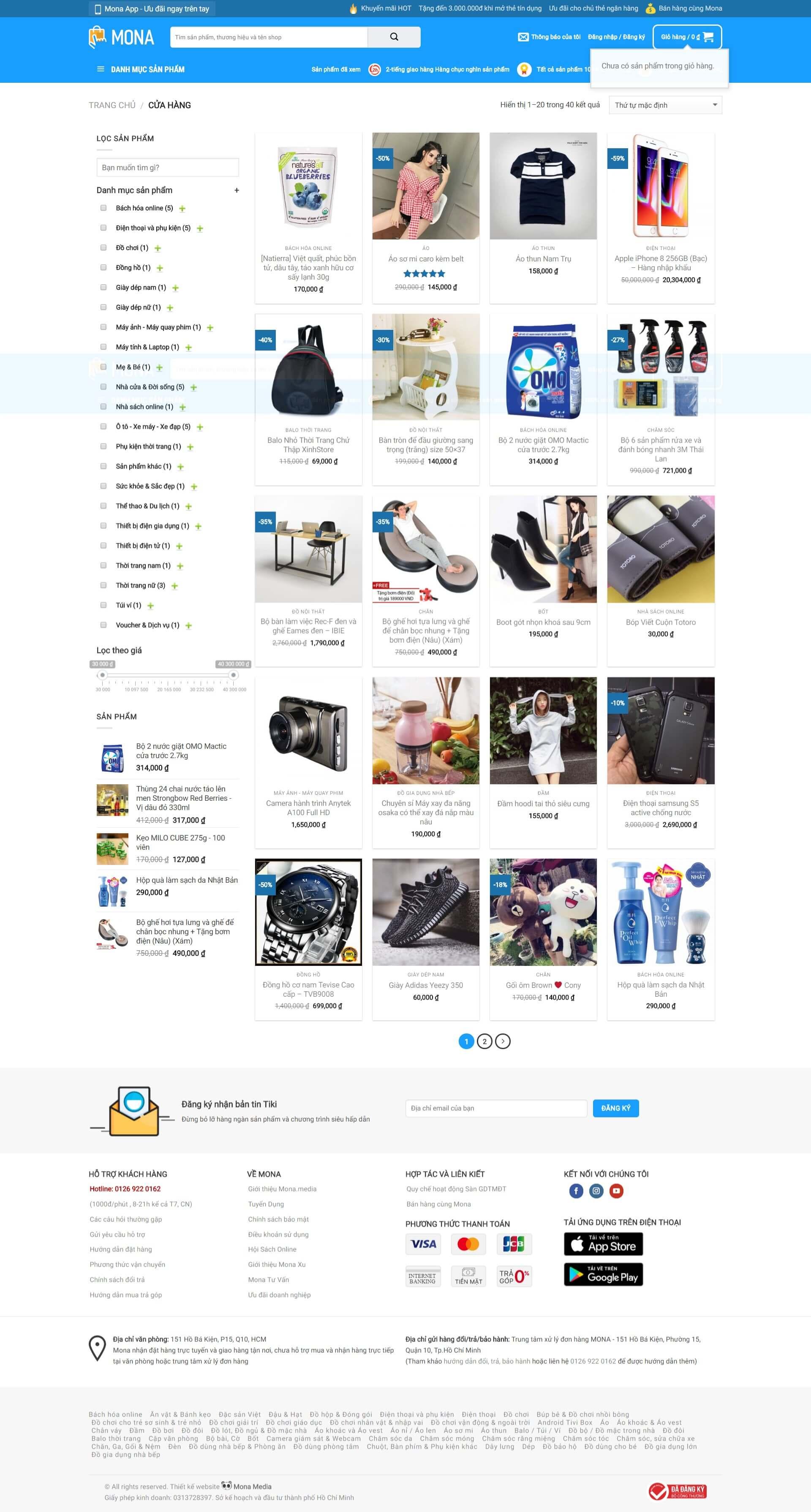 Thiết kế website bán hàng gia dụng giống trang web tiki
