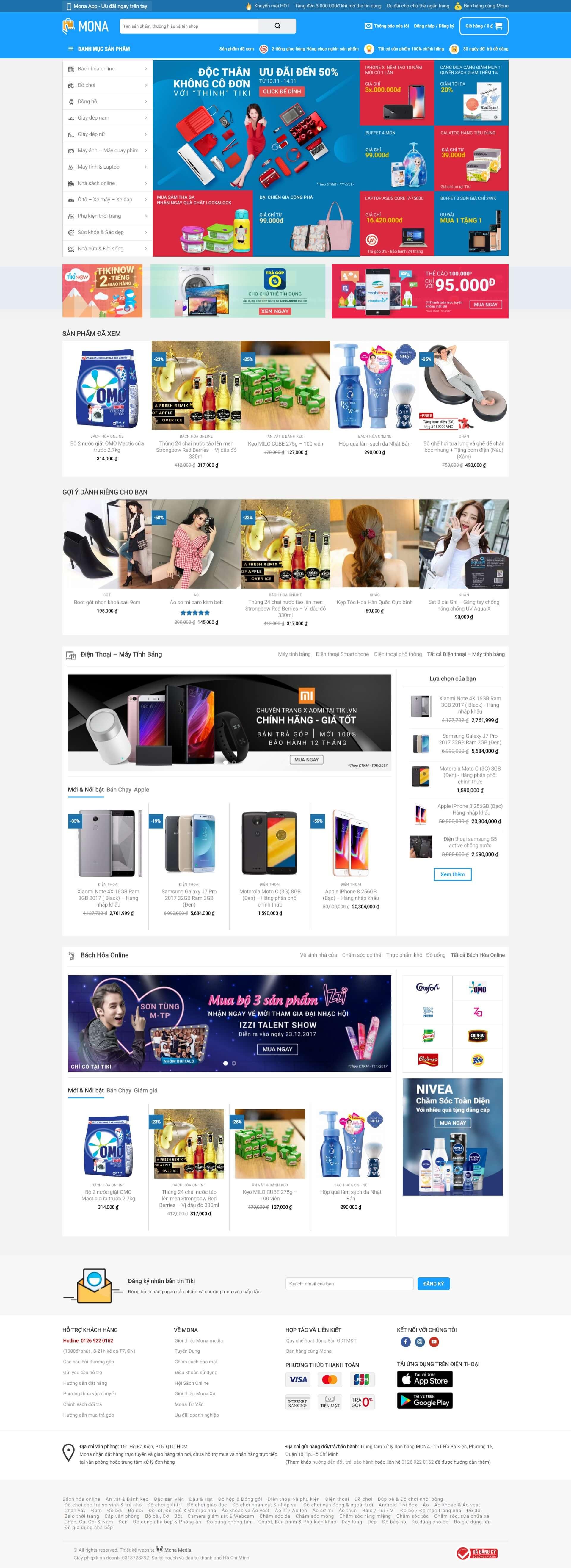 Mẫu website bán hàng gia dụng giống website tiki