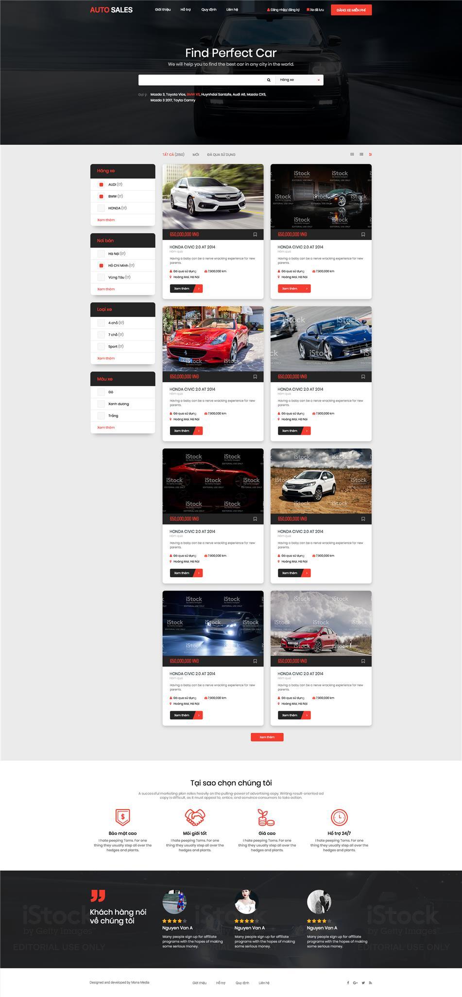Mẫu website xe hơi - Thiết kế website xe hơi