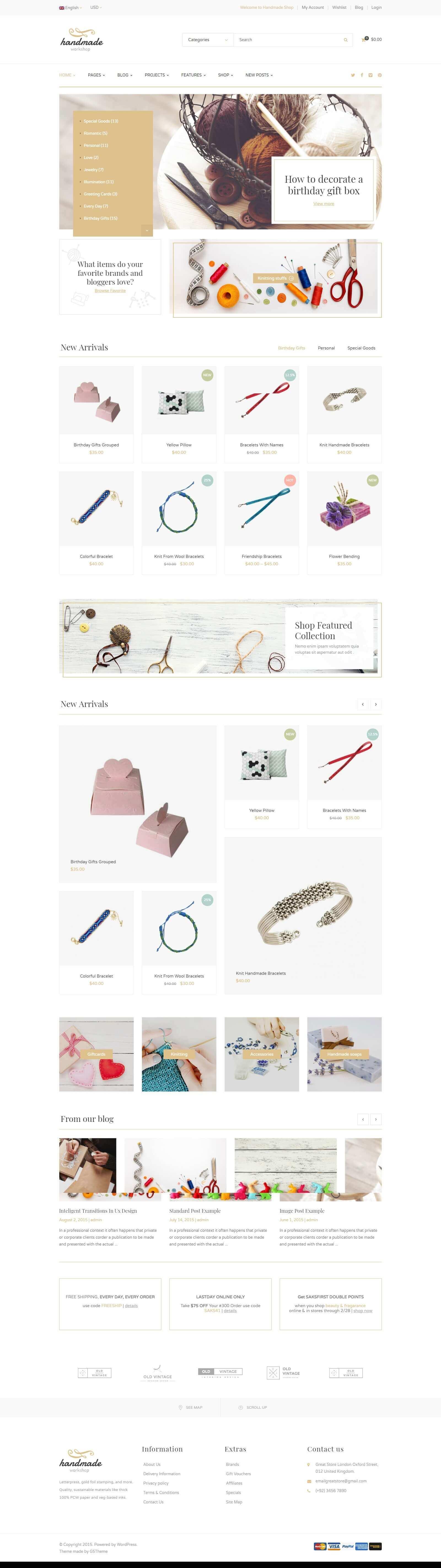 Mẫu website bán hàng handmade chuyên nghiệp, ấn tượng