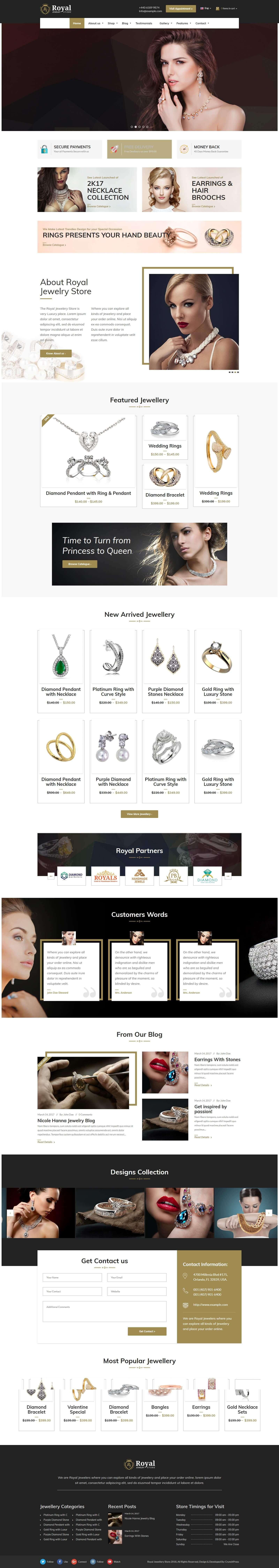 Mẫu website bán hàng dây chuyền, trang sức đẹp