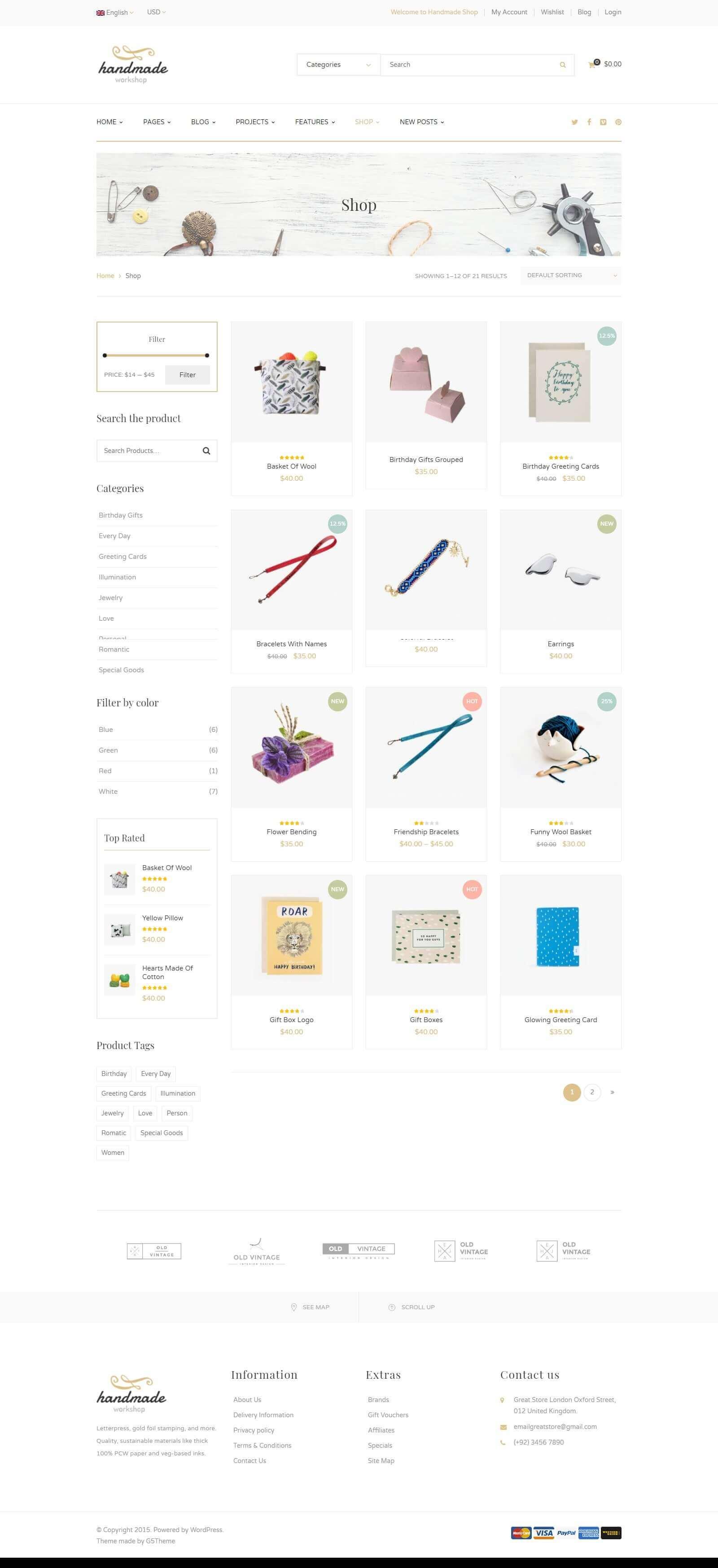 Các module, tính năng của mẫu website bán hàng handmade