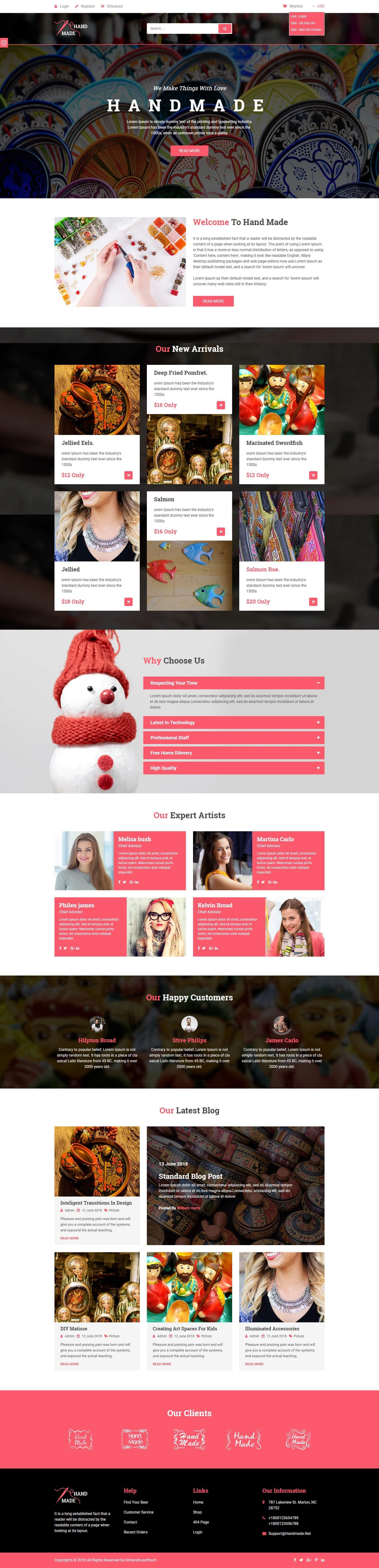 Mẫu website bán hàng thủ công mỹ nghệ ấn tượng