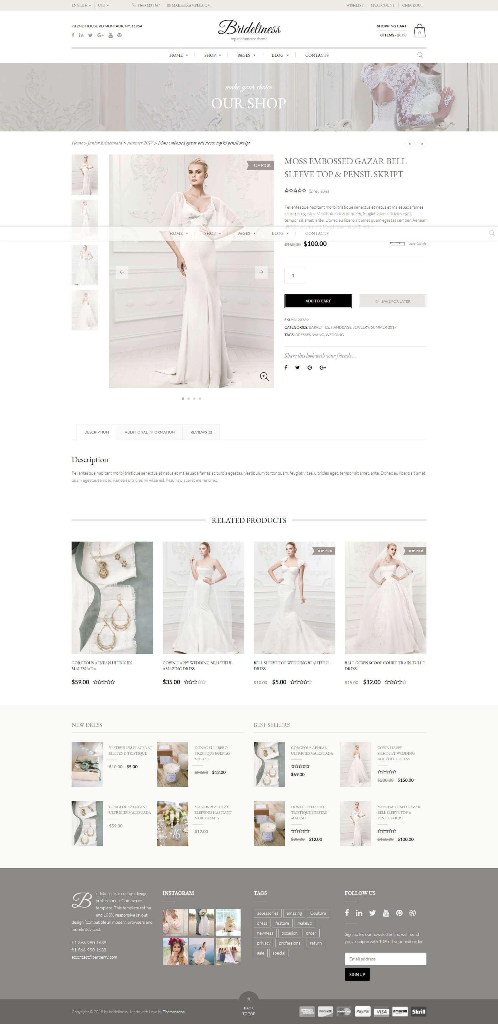 Menu sản phẩm, dịch vụ của mẫu website cho thuê áo cưới
