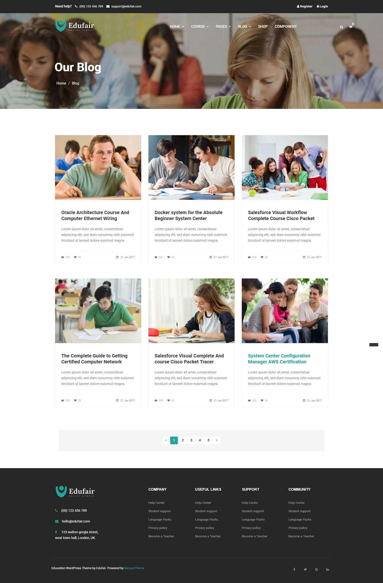 Các module, tính năng của mẫu website trường học