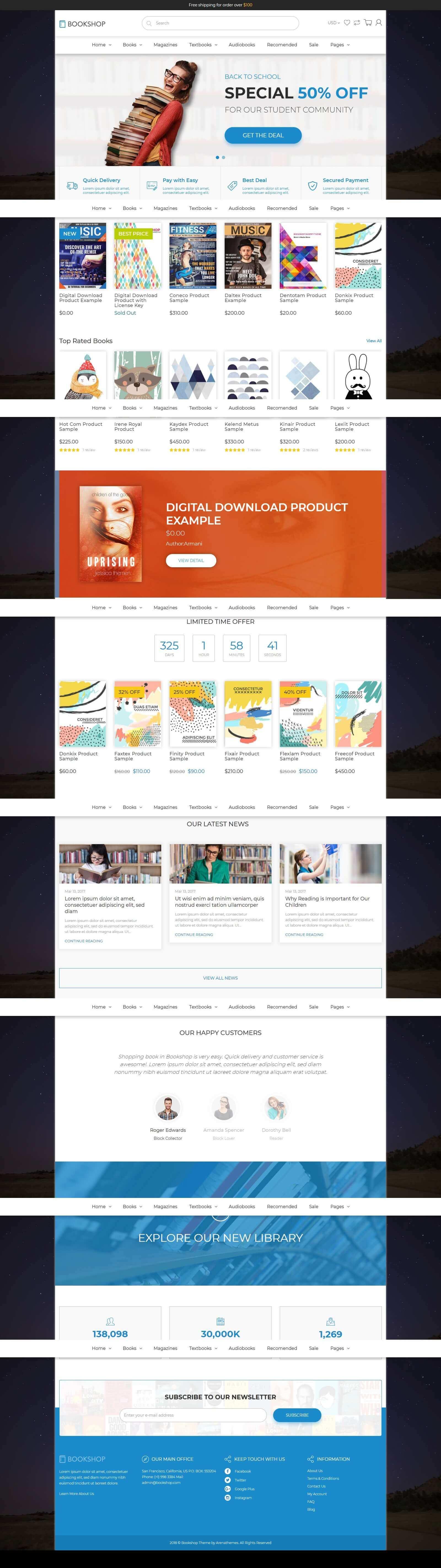 Mẫu website bán sách đẹp mắt, chuẩn seo