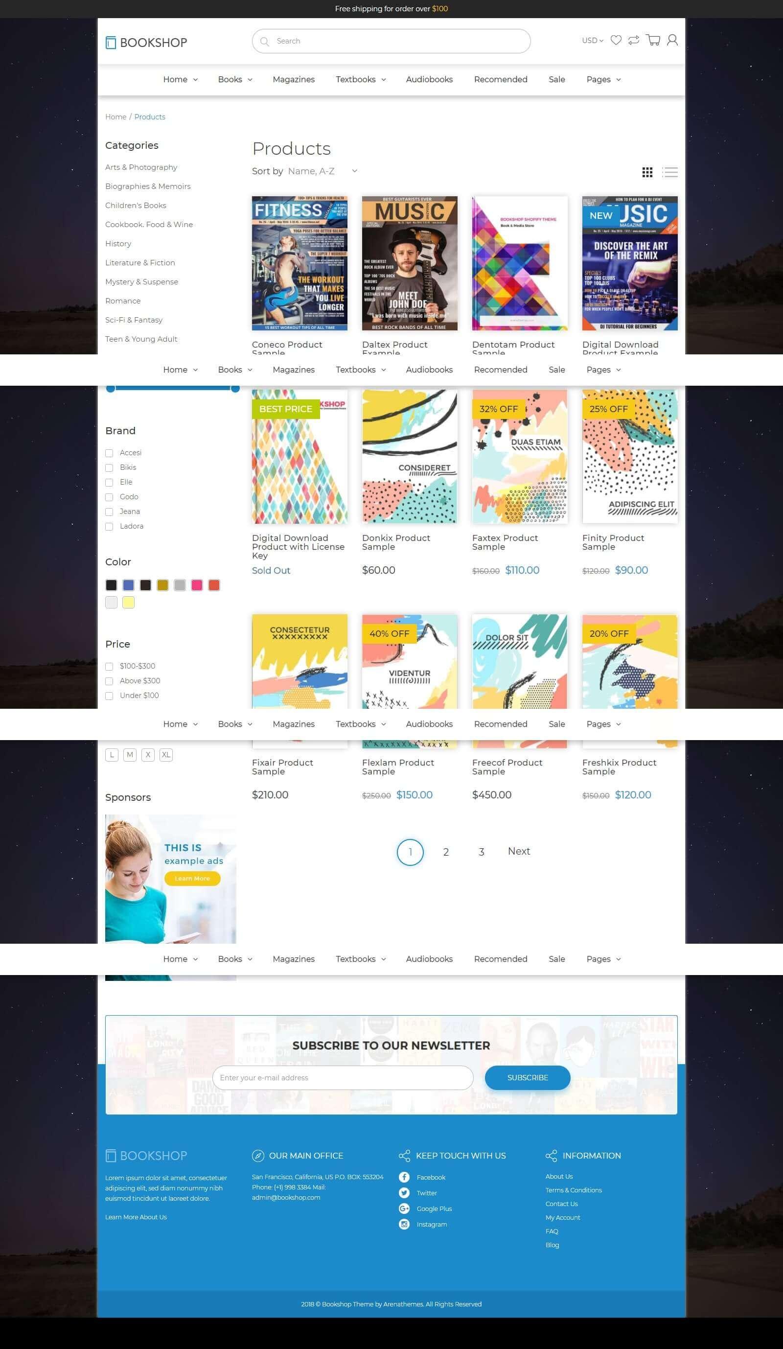 Các tính năng của mẫu website bán sách