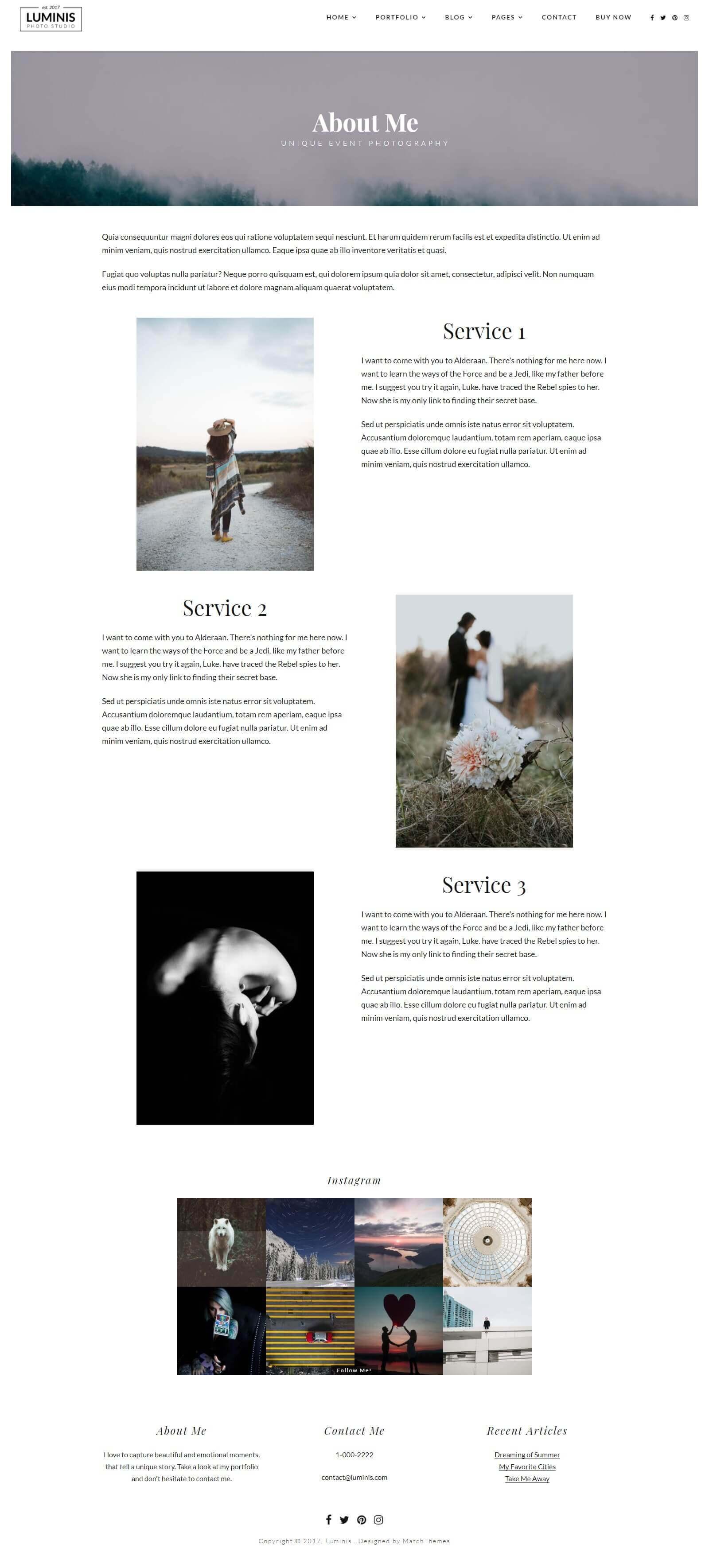 Các module, tính năng của mẫu website chụp ảnh cưới