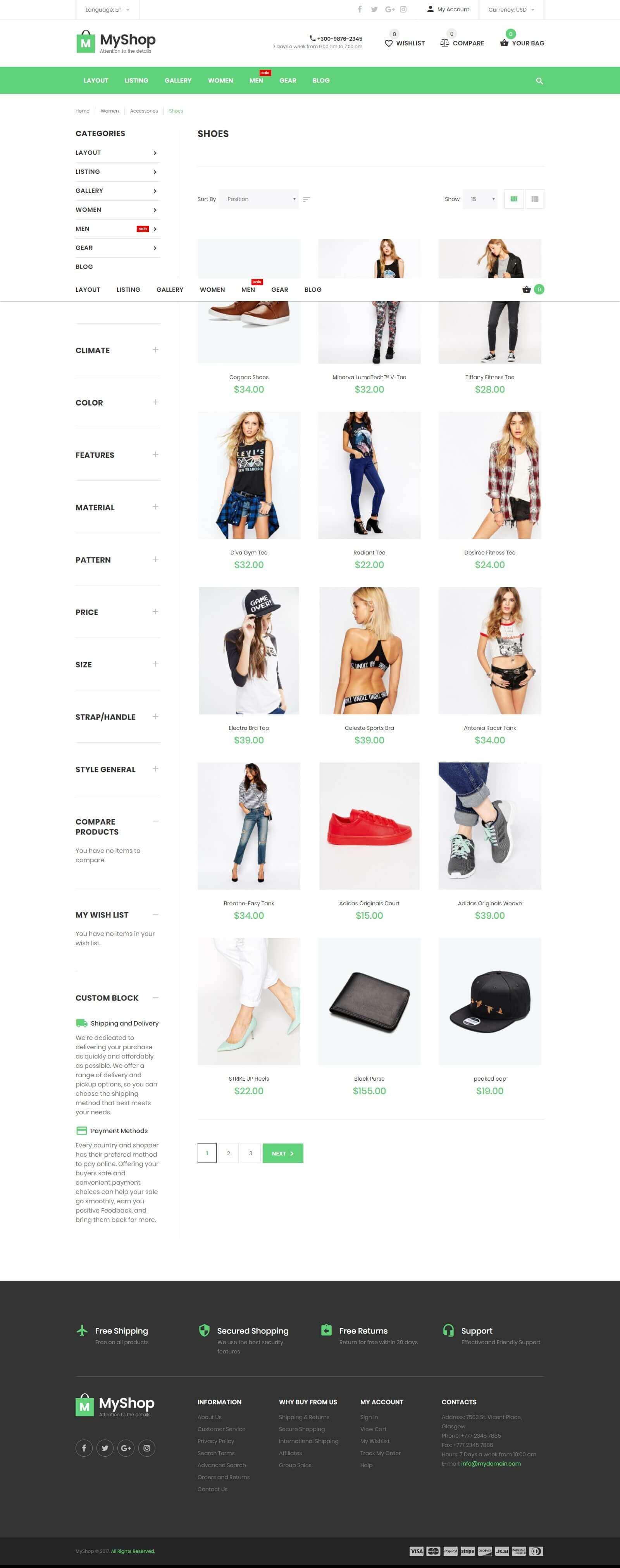 Các tính năng cần biết của mẫu website bán giày dép