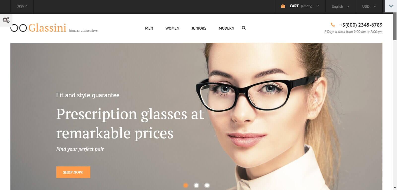 Mẫu website bán mắt kính hiện đại, chuẩn seo
