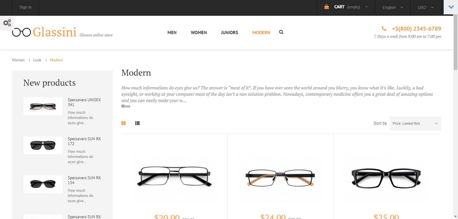 Các module, tính năng của mẫu website bán mắt kính