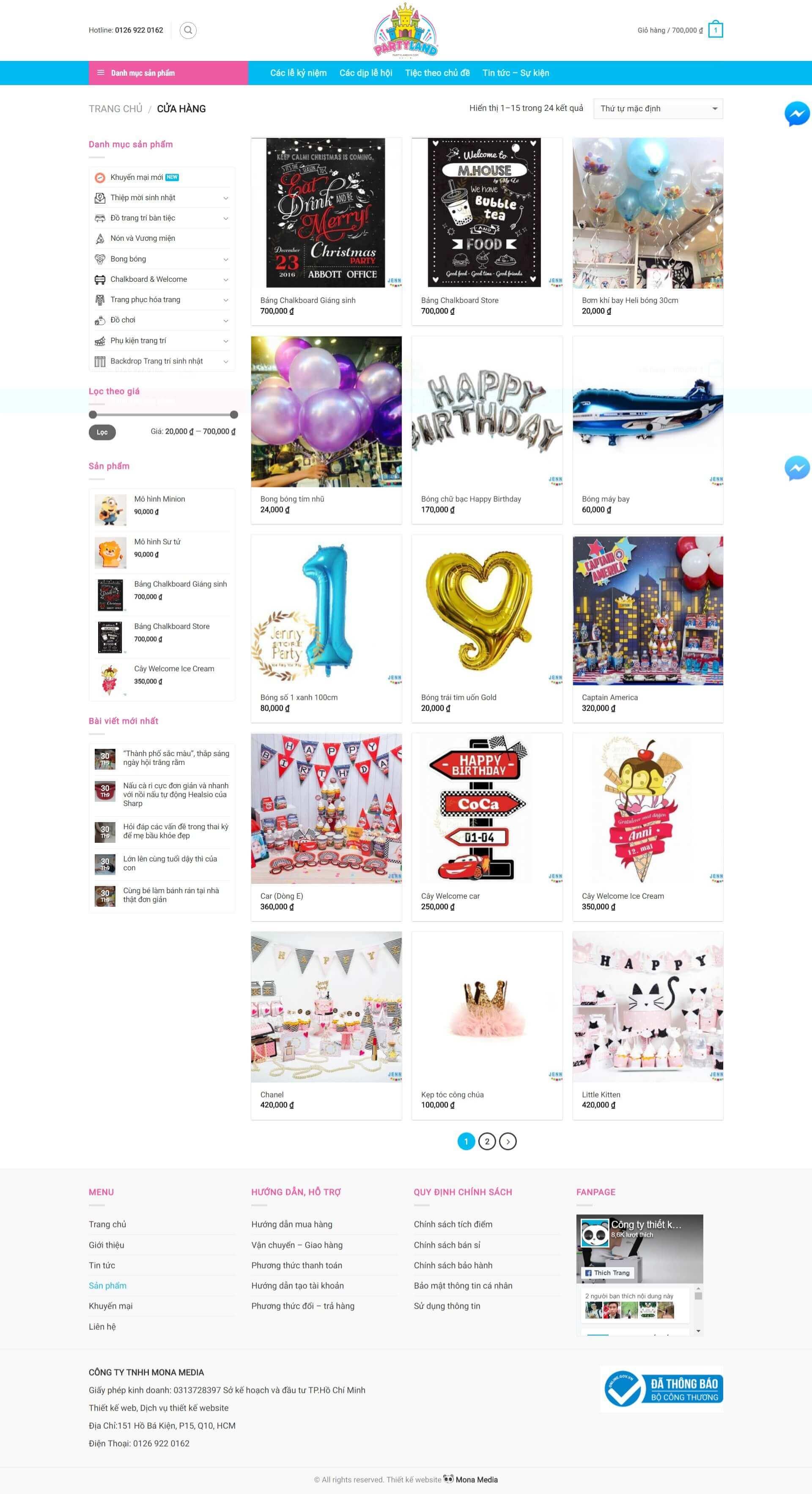 Thiết kế website bán hàng đồ chơi trẻ em Partylandvn