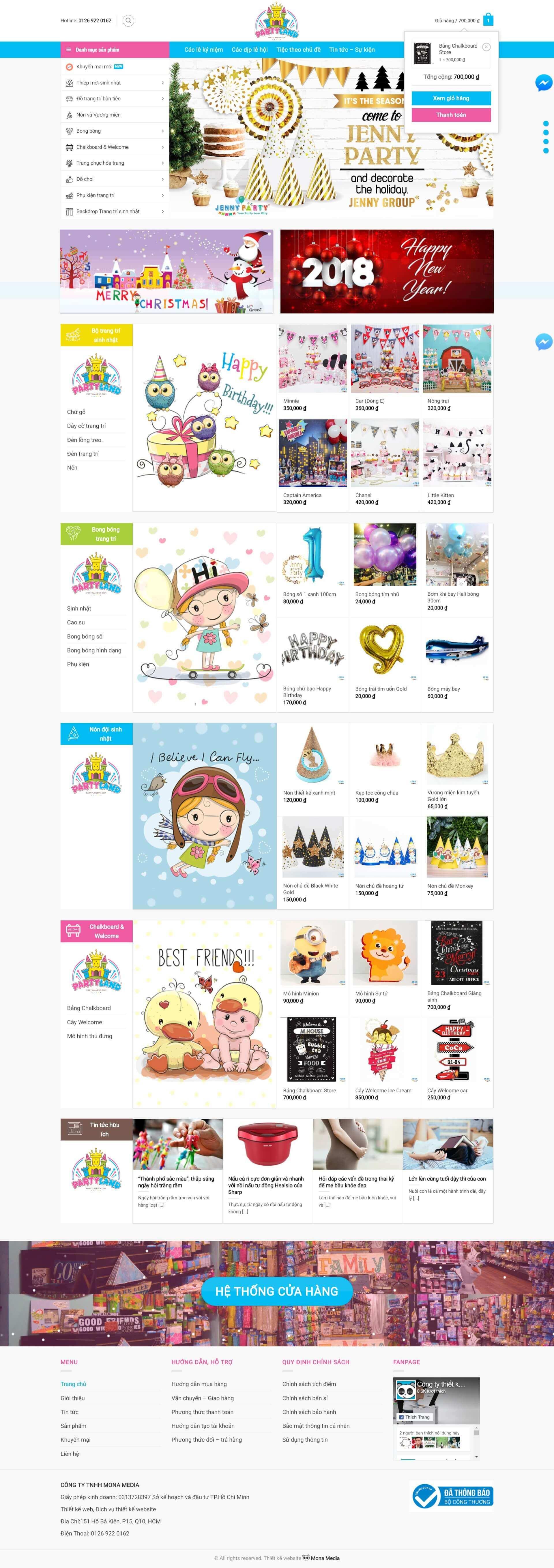 Mẫu website bán hàng đồ chơi trẻ em Partlandvn