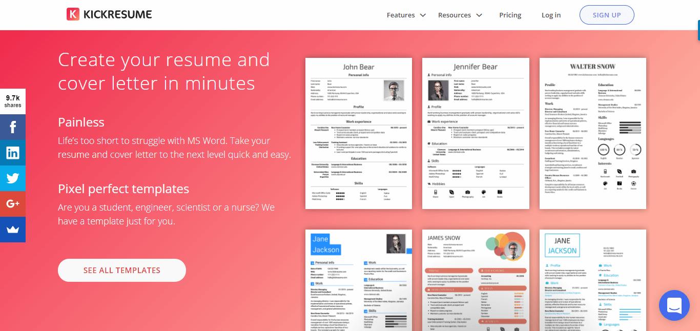 Kickresume - tạo CV online miễn phí