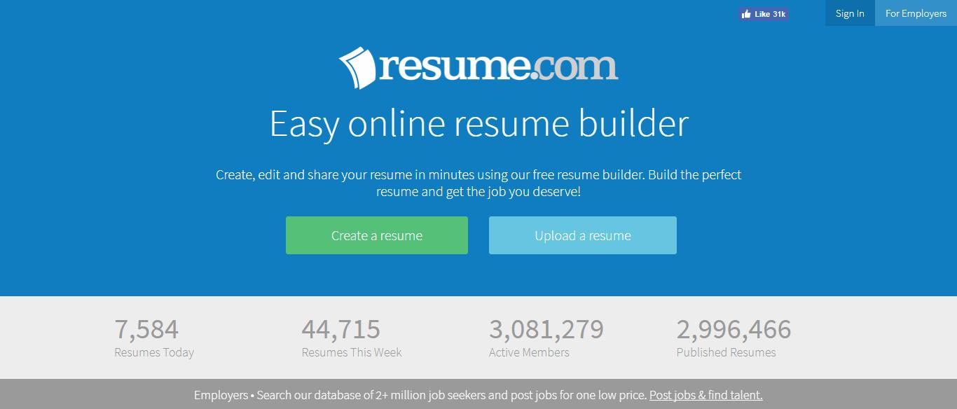 Resume.com - tạo CV online miễn phí