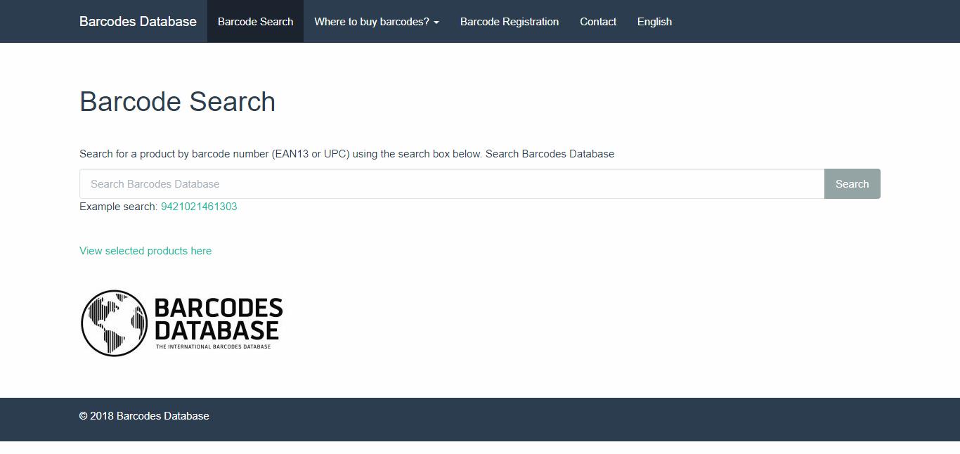 Kiểm tra mã vạch online Barcode Database