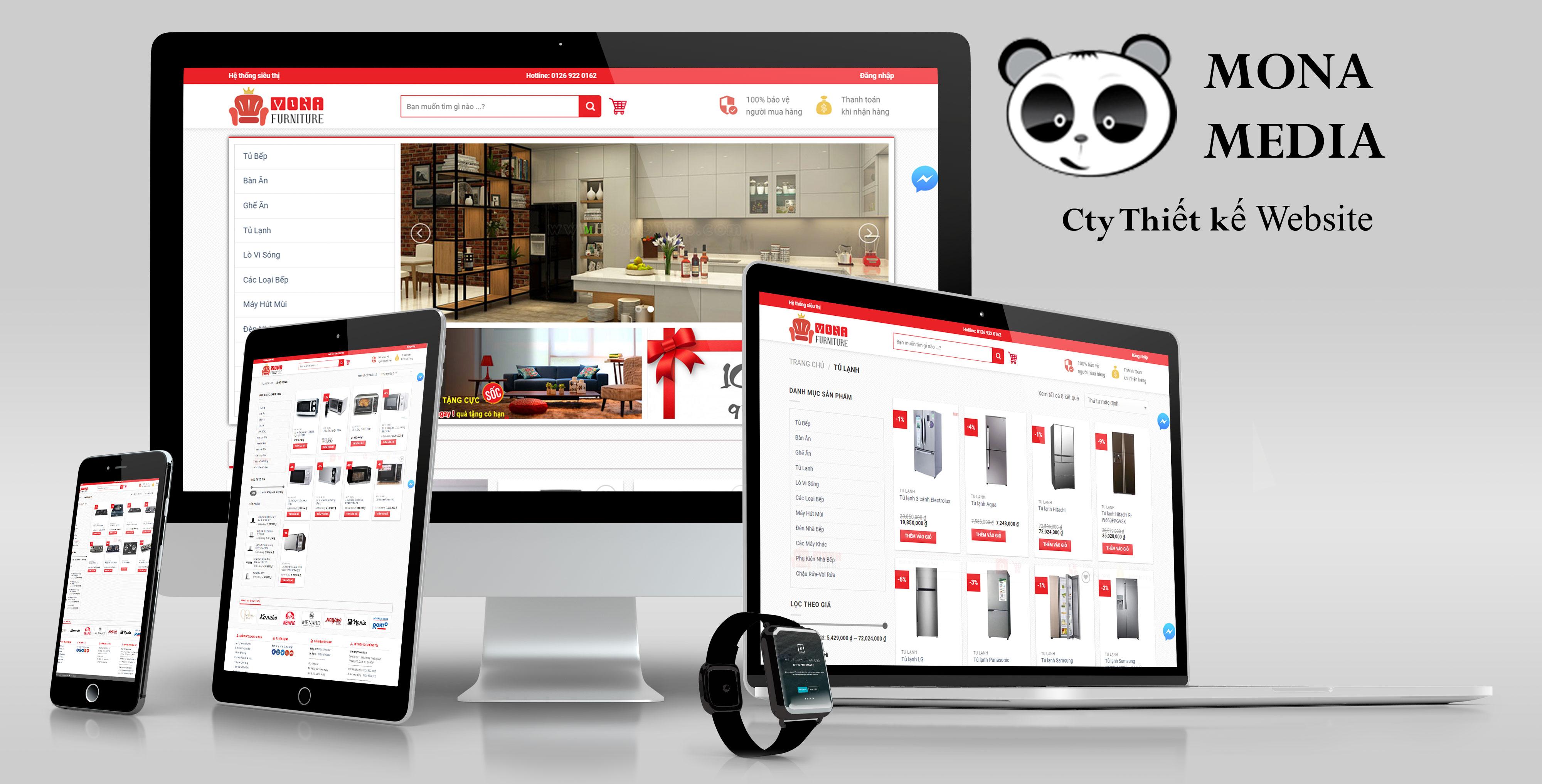 Giới thiệu mẫu website bán hàng nội thất bếp