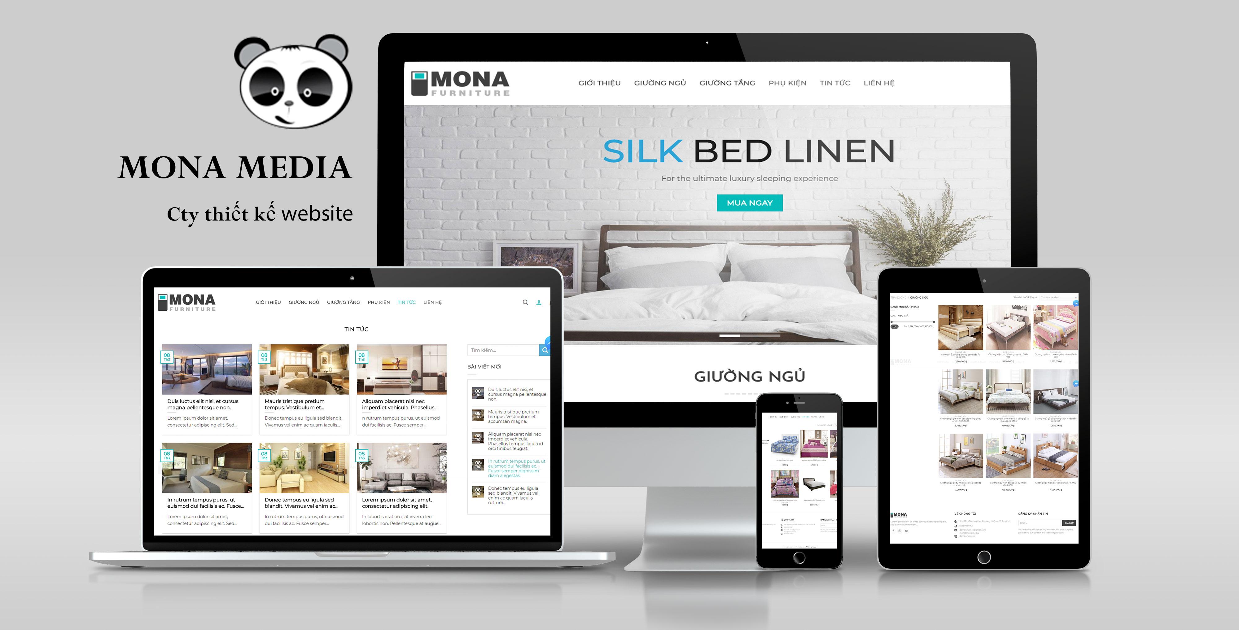 Mẫu website bán hàng nội thất giường